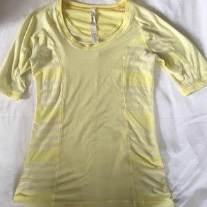 lululemon half sleeve striped yellow shirt size 2